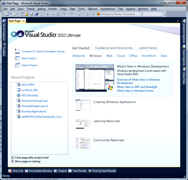Visual Studio 2010 face