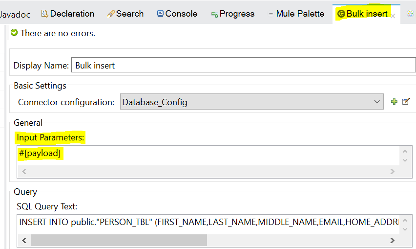 Mule 4: Database Connector Bulk Insert - DZone Integration