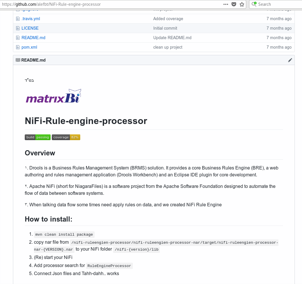 NiFi-Rule-engine-processor github