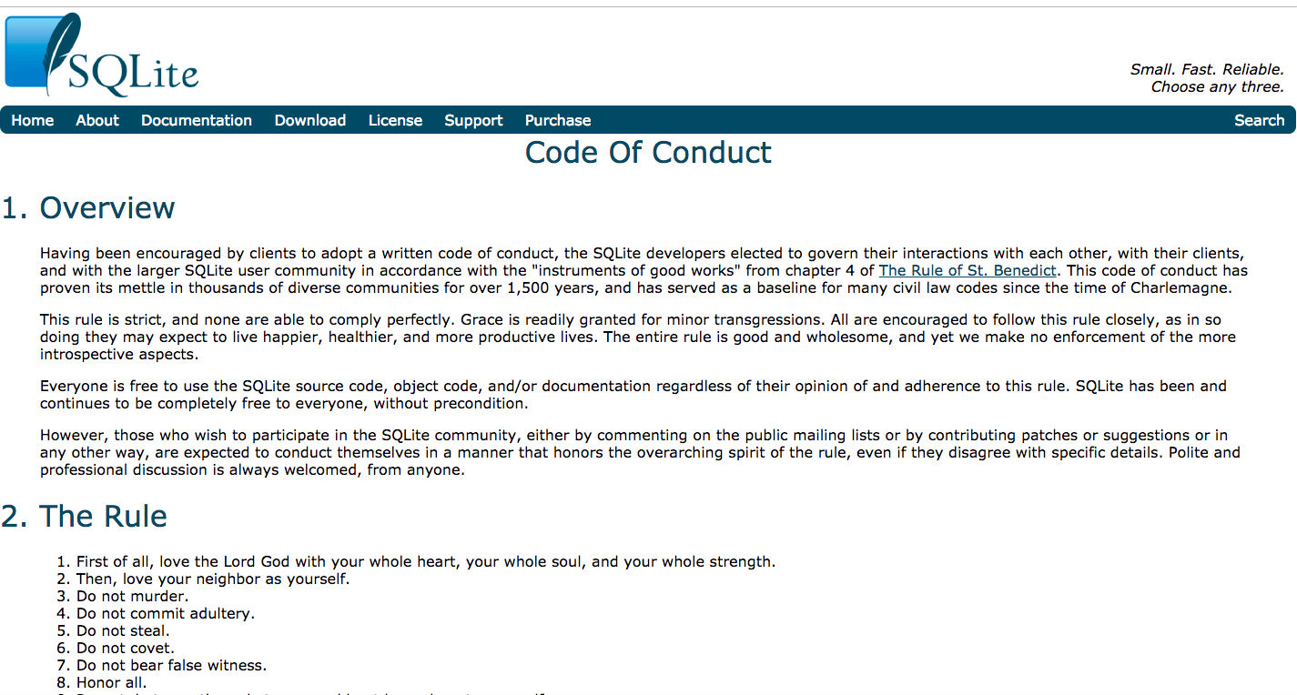 SQLite Code of Conduct Sparks Outrage in Dev Community