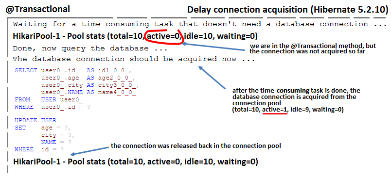 How to Delay Connection Acquisition as Needed (Hibernate 5.2.10)