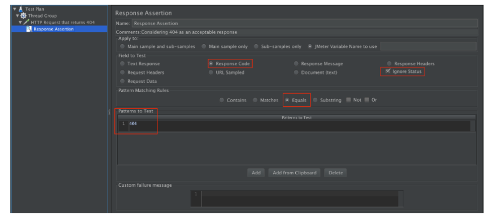 JMeter GUI Showing How to Set Up the Response Assertion