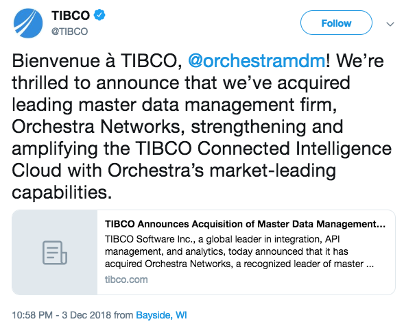 TIBCO Acquires Orchestra Networks, Maker of Data Management Software