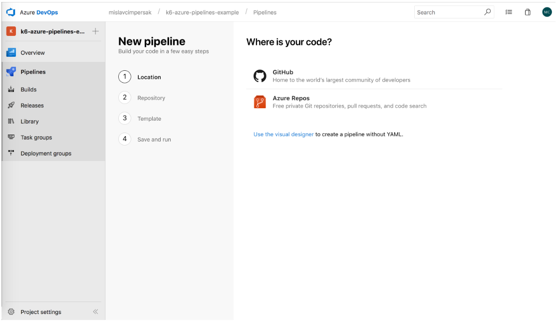 Azure DevOps Pipelines Where is your code Screen
