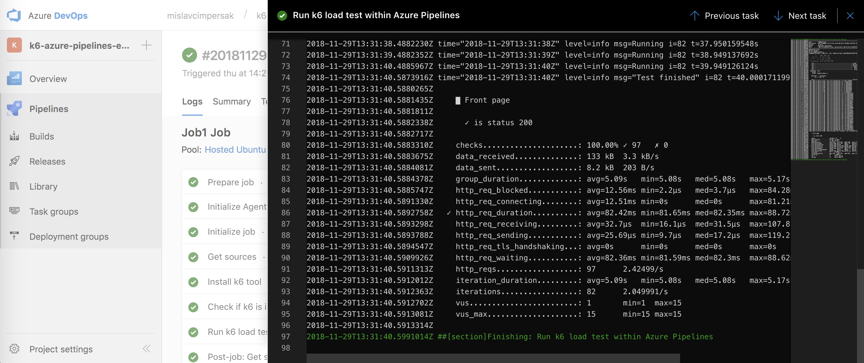 k6 load test run from Azure Pipelines