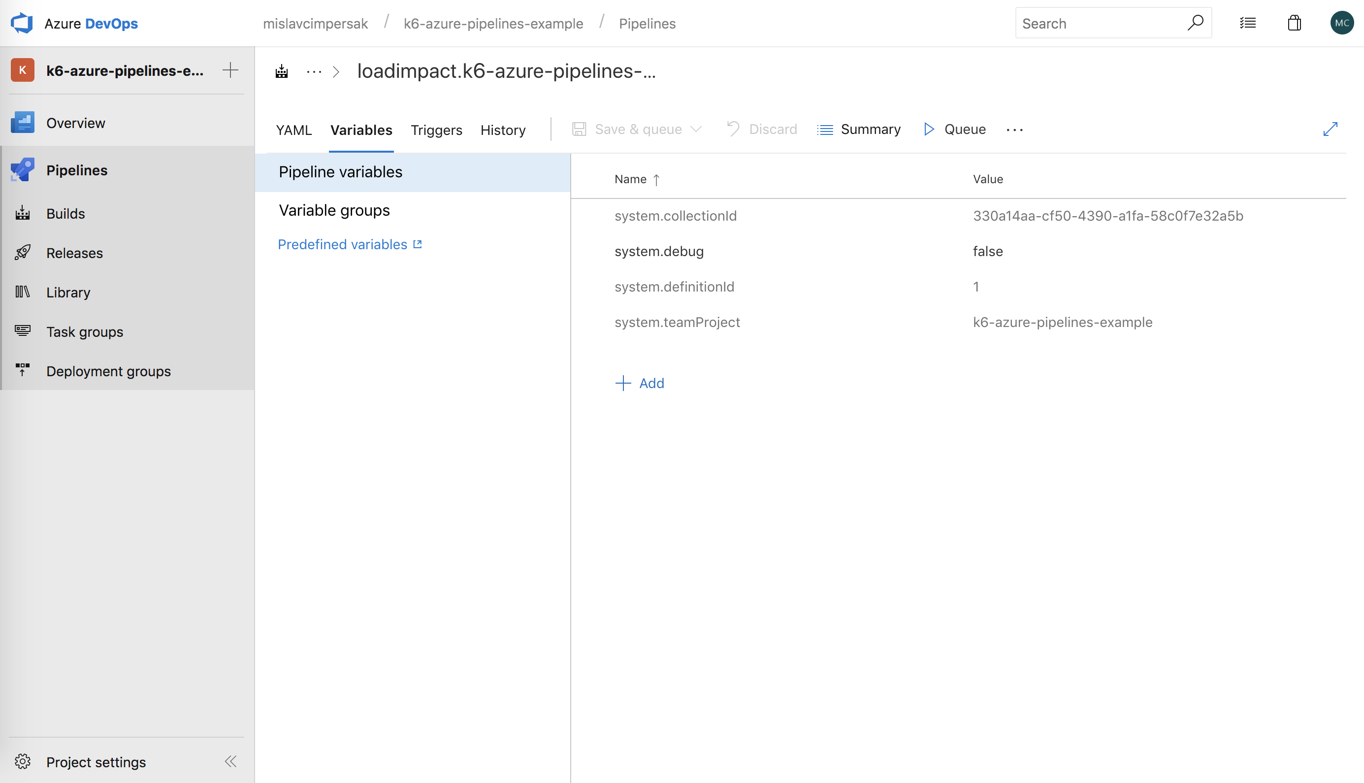 Azure Pipelines Variables Screen