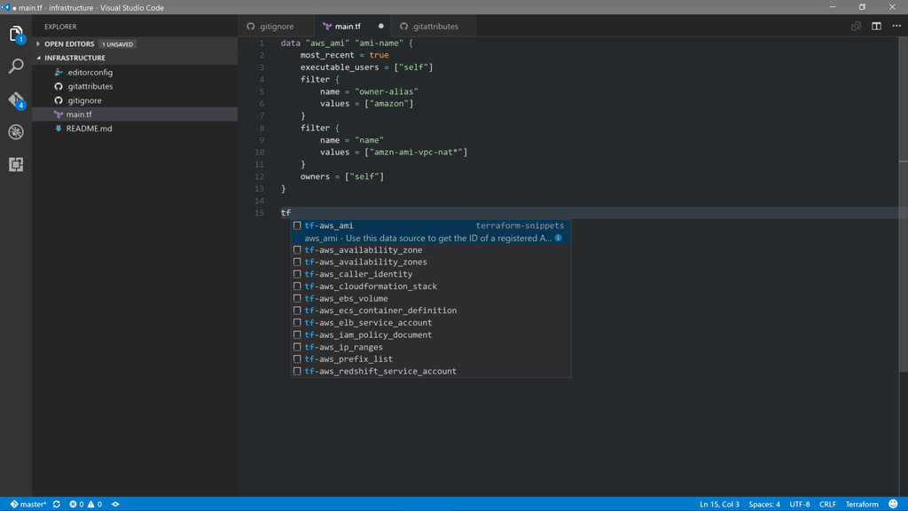 Terraform with Visual Studio Code