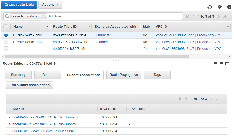 Public Route Table Associations: AWS Console