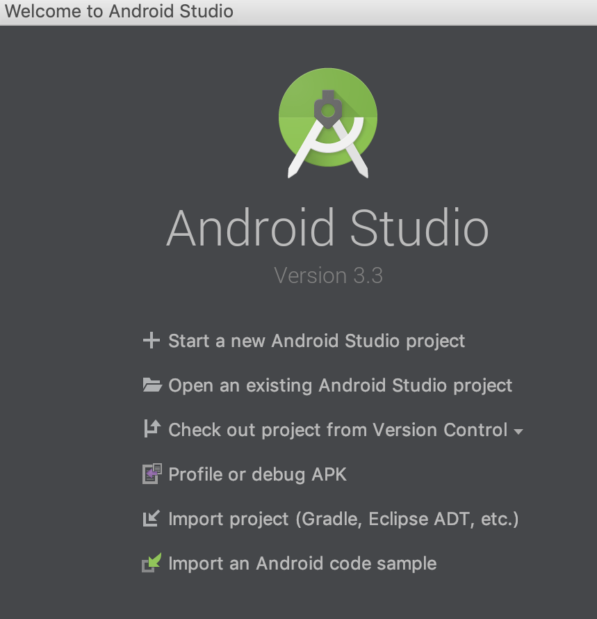 Android Studio Startup screen