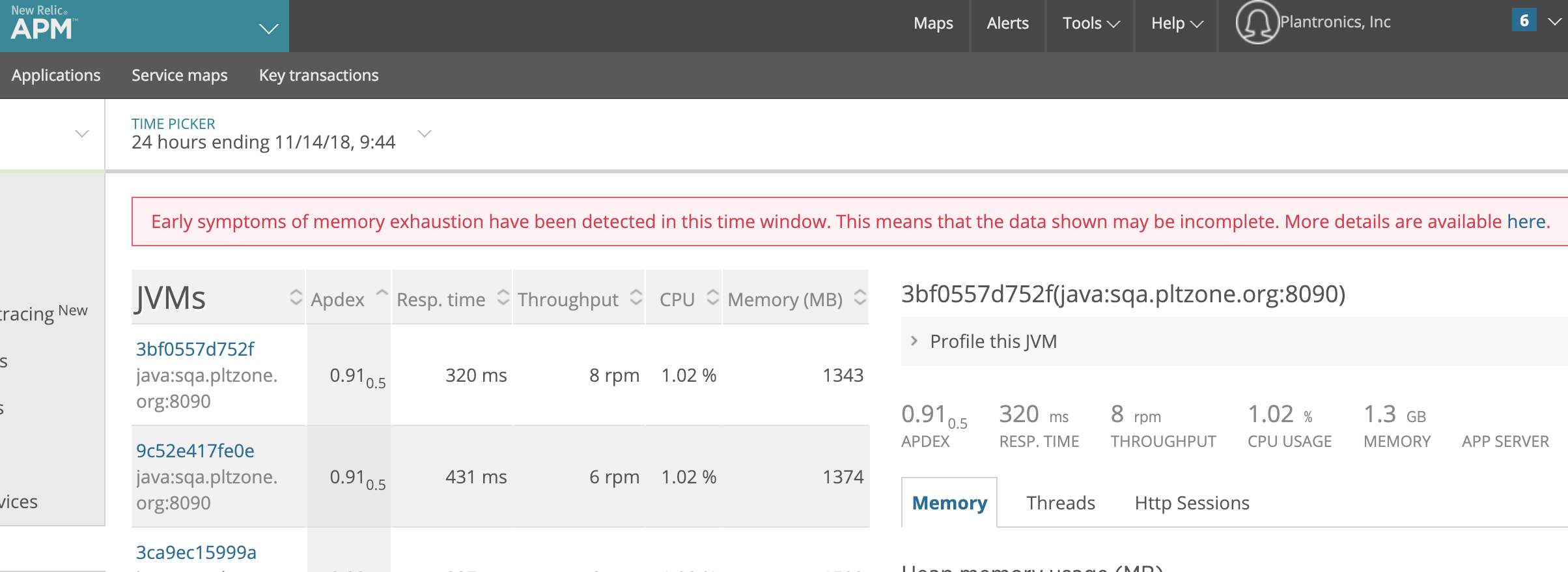 New Relic Memory Exhaustion