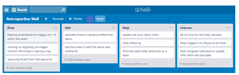 Trello Board for Sprint Retrospective