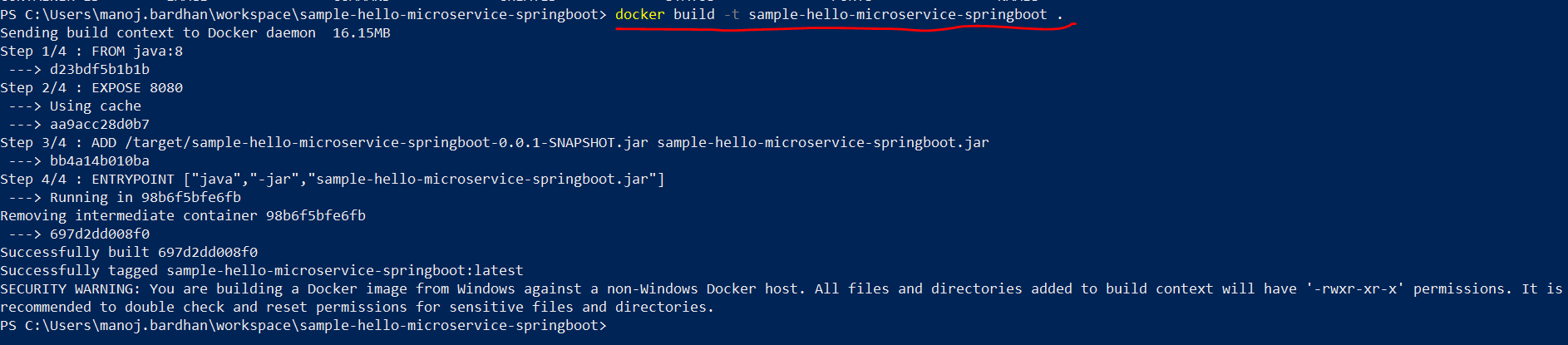 Create a Docker image file