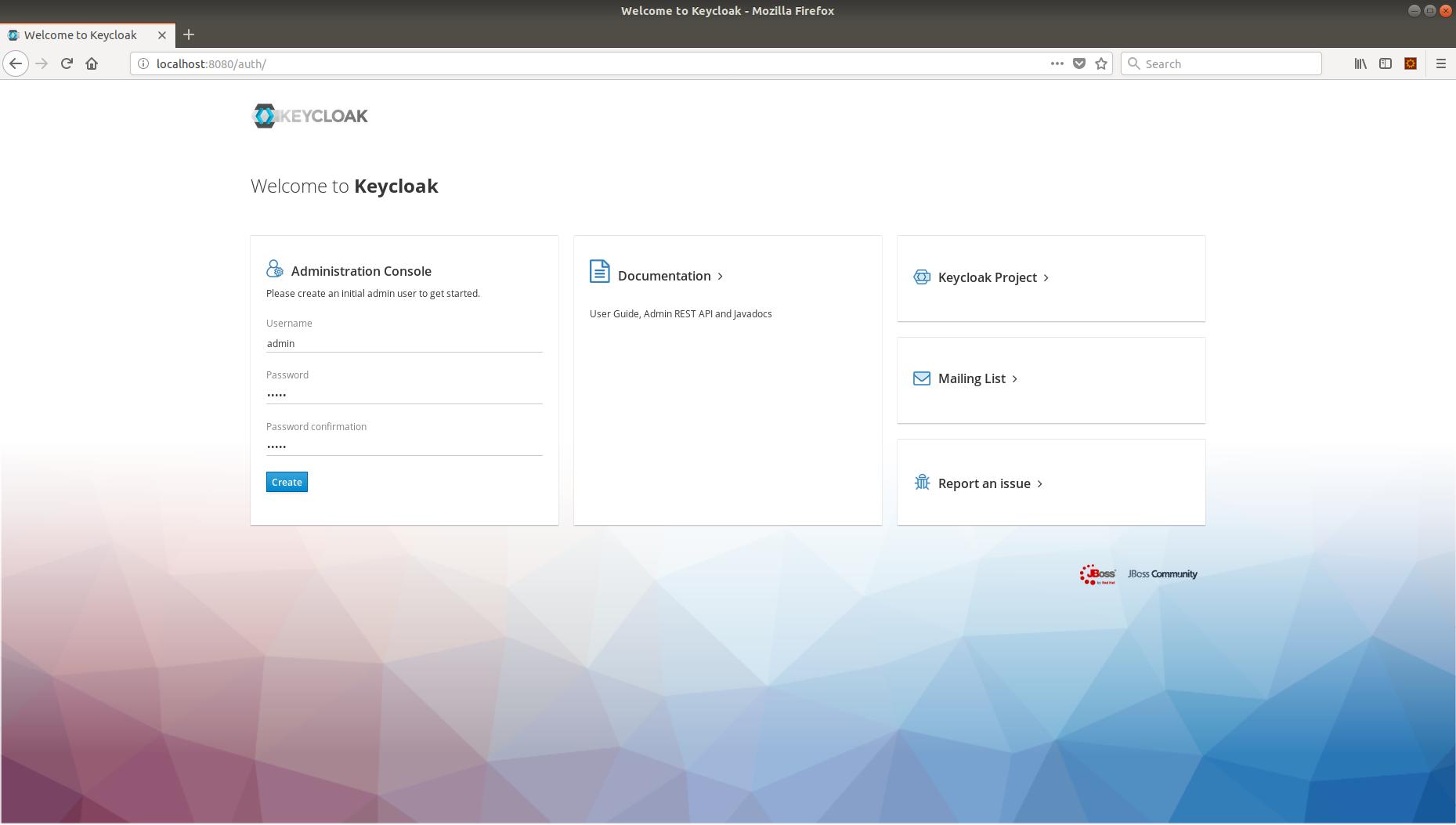 Keycloak admin dashboard