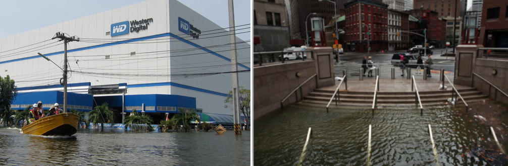 2011 Thailand (left) 2012 New York (right) floods