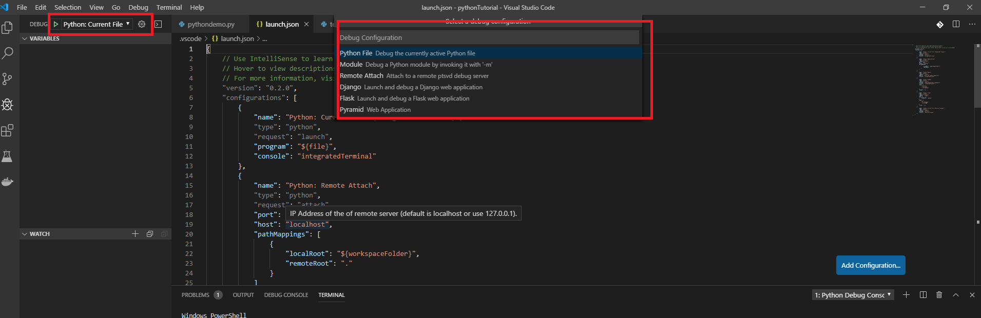 Configuring the debugger in VS Code