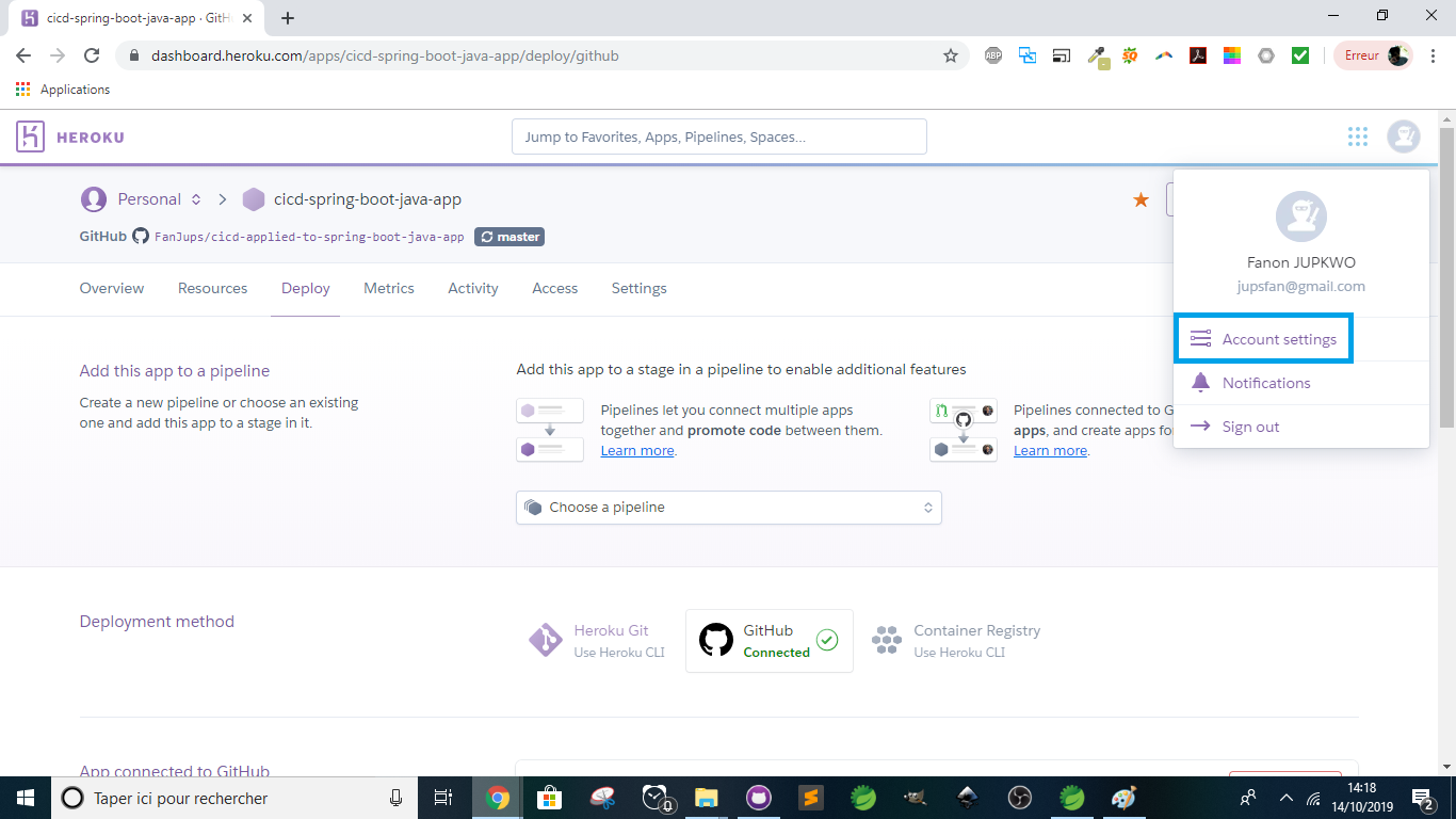 Heroku - Account settings