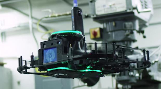 VTRUS has a RICOH THETA 360 degree camera mounted on an autonomous flying robot