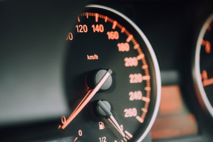 Speedometer on a car dashboard