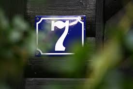 Number seven on a door