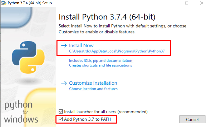 Installing Python and adding to PATH