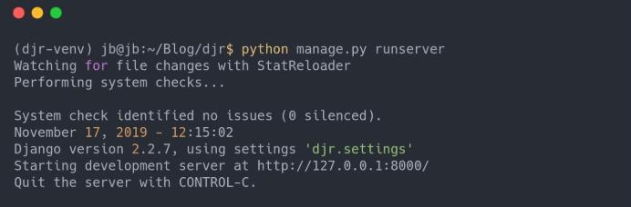 Development server running