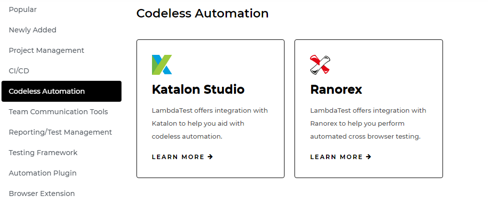 Codeless automation tools