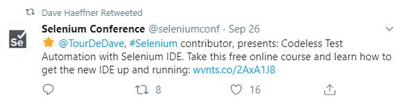 Selenium conference tweet