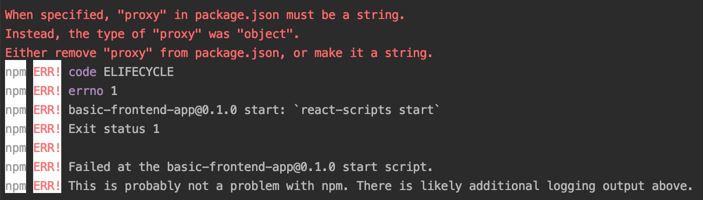 Proxy config error