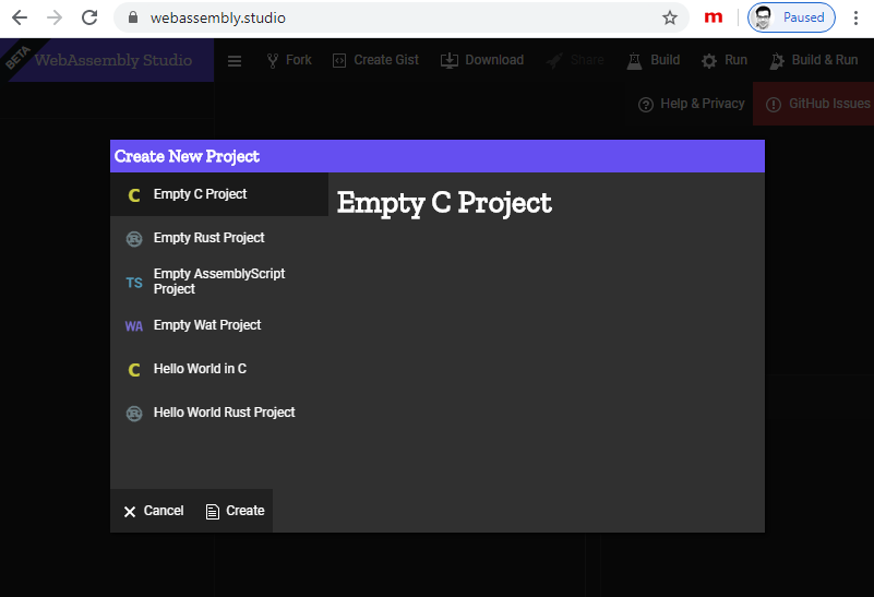 Creating a new WebAssembly project