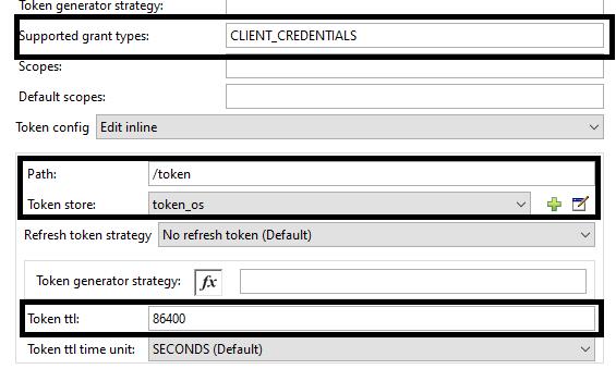 Configuring token generator strategy