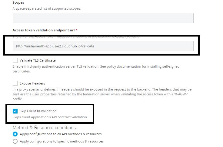 Applying OAuth2.0 access token enforcement