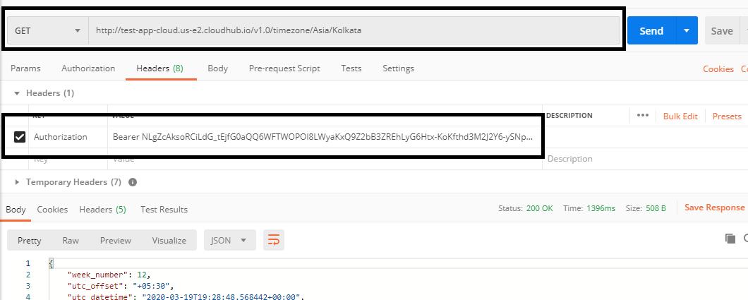 Passing bearer token to authorization header