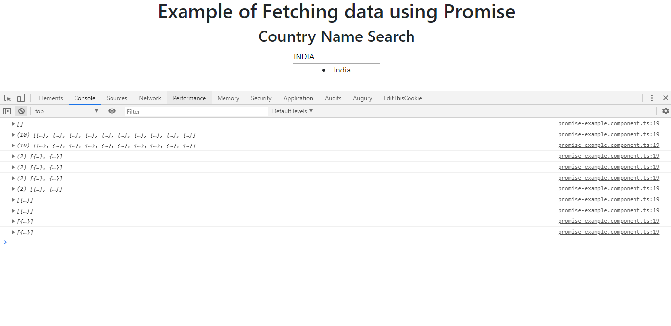 Fetching data using a Promise