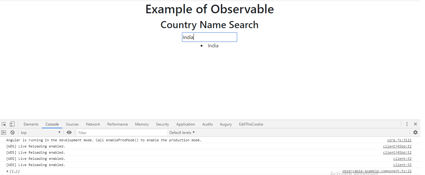 API request with Observable