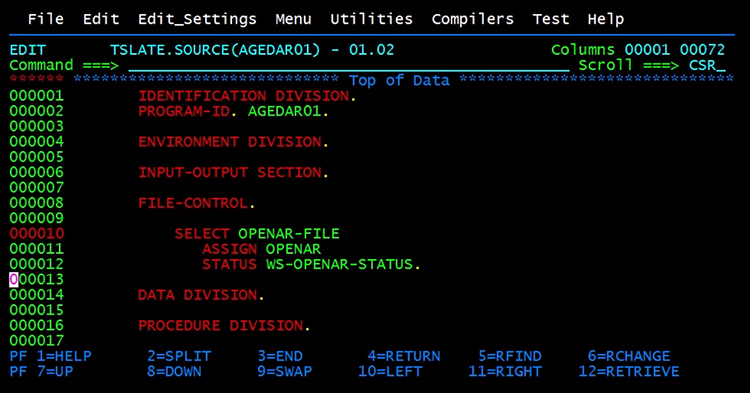 Program division in COBOL