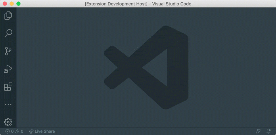 An animation showing using the extension from the VSCode command palette.