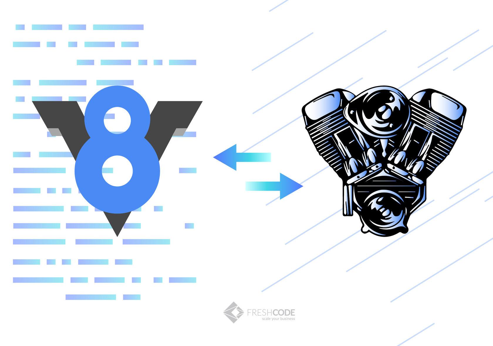 V8 engine graphic