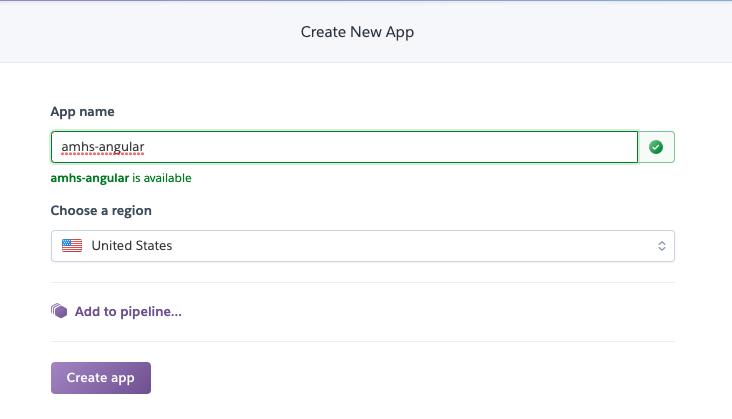 Creating new app in Heroku