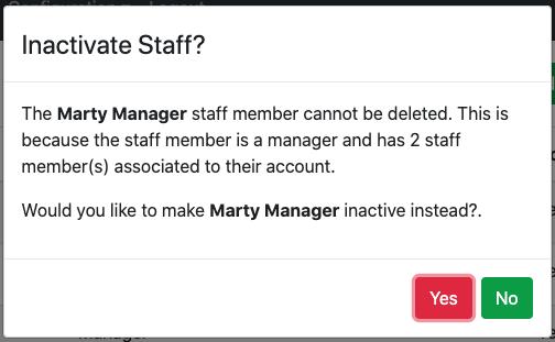 Inactive staff functionality