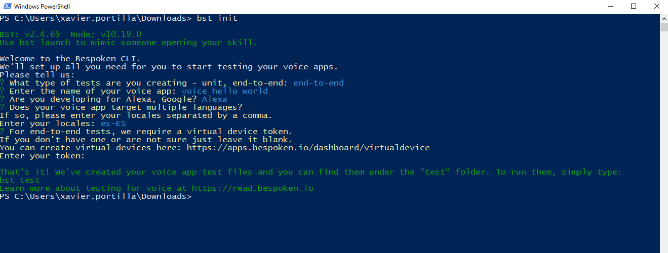 Bespoken command line guide