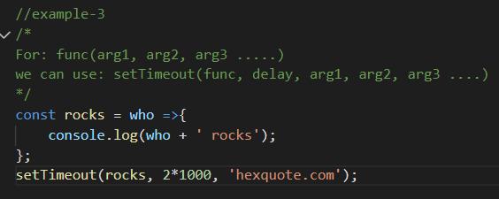 setTimeout example code block
