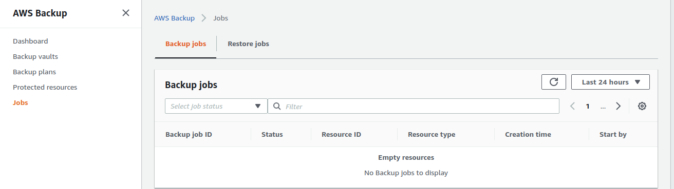 Backup jobs and restore jobs