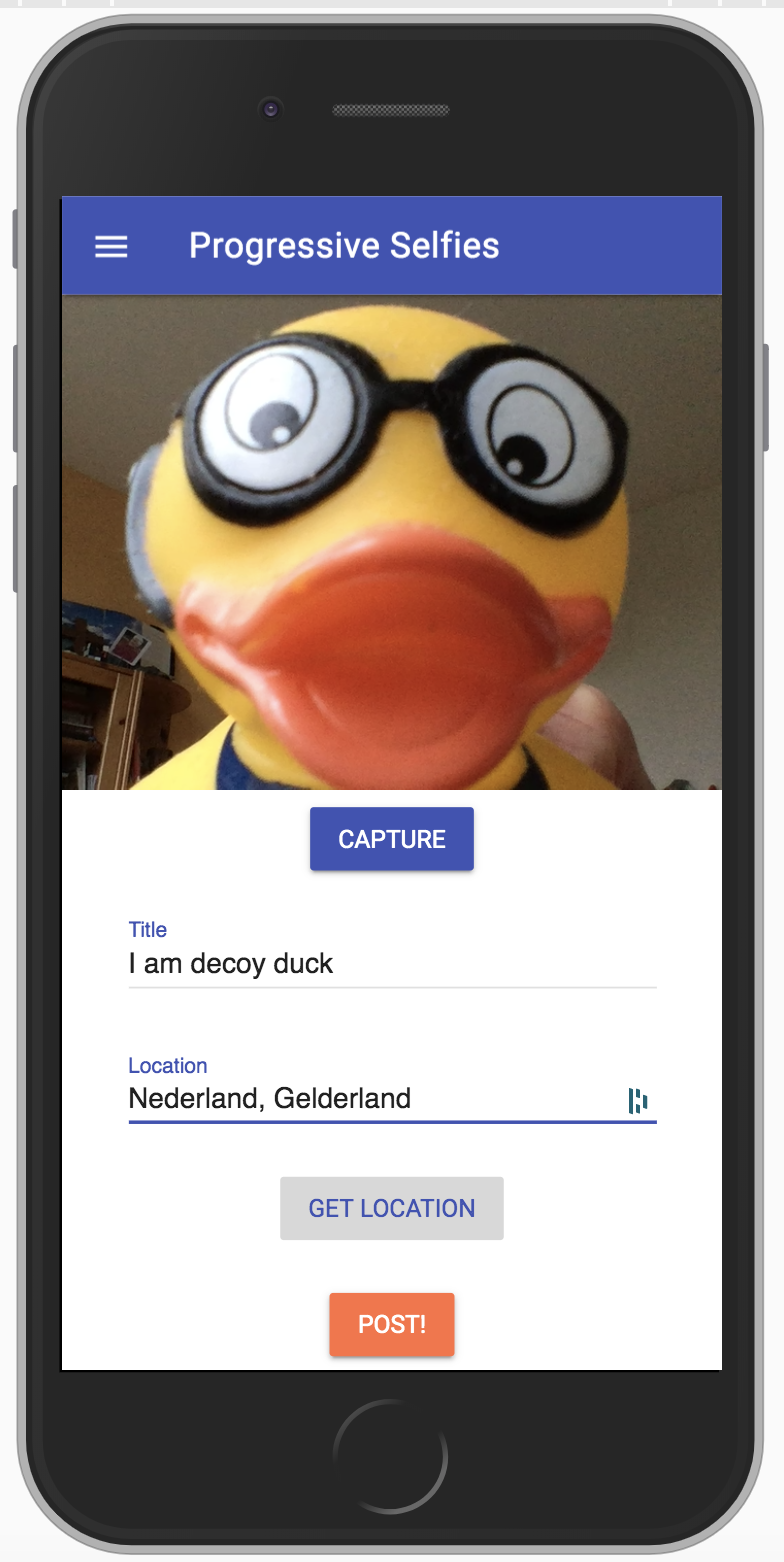 selfie capture screen with title and location