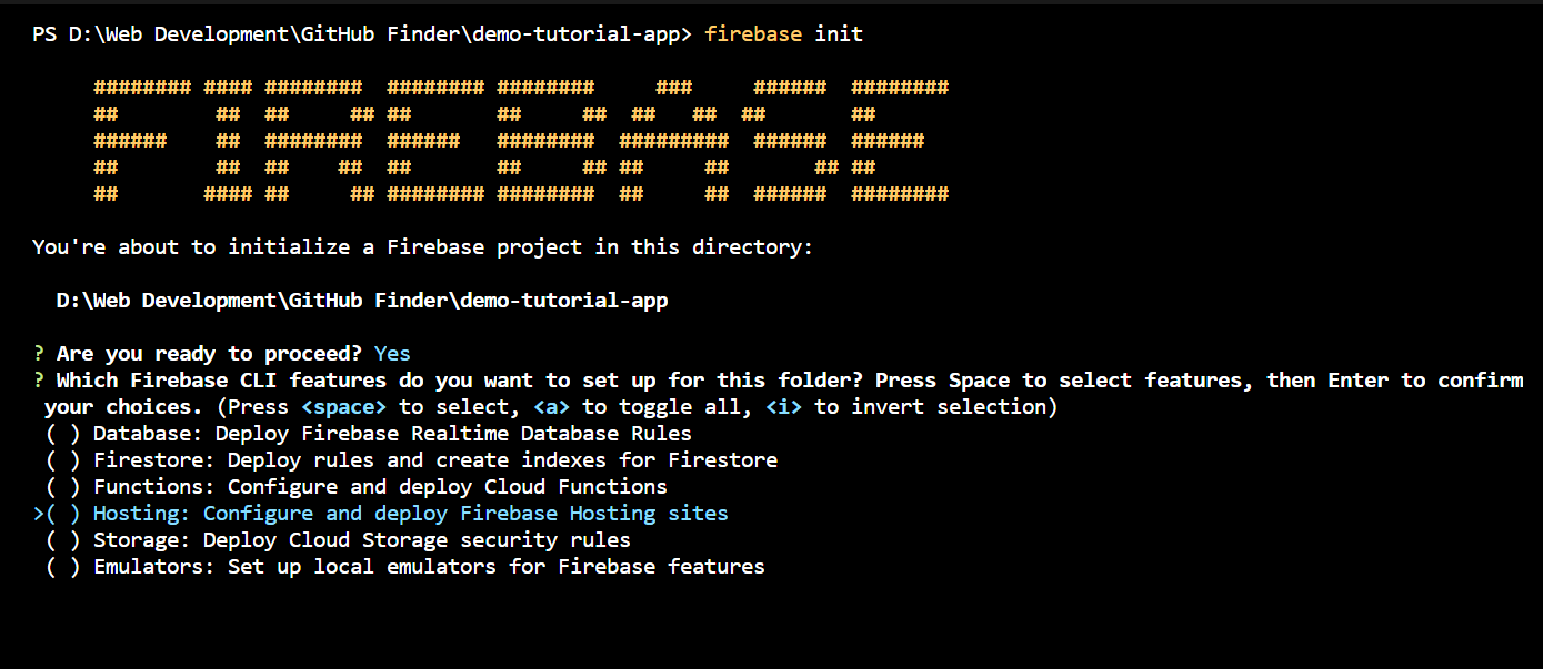 firebase home page - select, hosting: configure and deploy Firebase Hosting sites