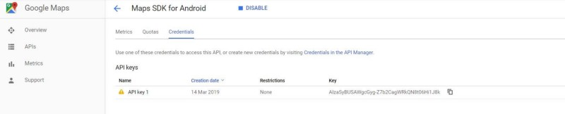 API credentials Googla Map SDK