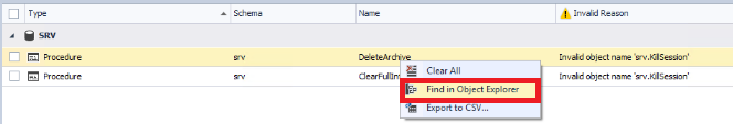 Finding the object that refers to an invalid database object