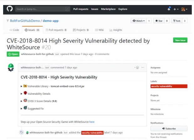 Vulnerabilities detected by WhiteSource Bolt for GitHub
