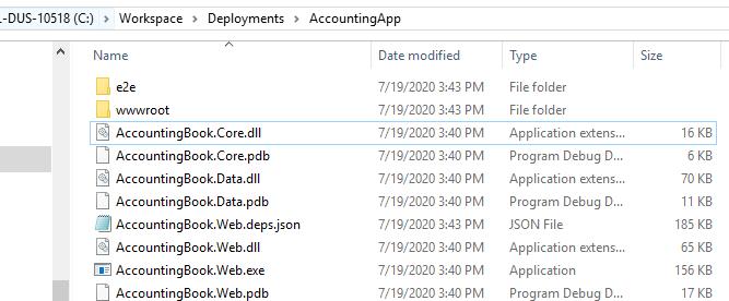 Copied publish folder