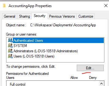 Adjusting folder security
