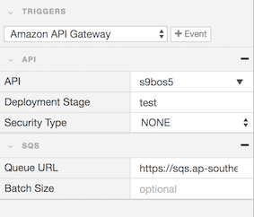 API gateway and SQS trigger